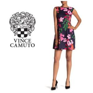 Vince Camuto Womens Blue Floral Scuba Dress Sz 14